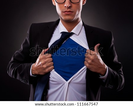 Cropped view of frustrated business man tearing off his shirt Stock photo © oly5