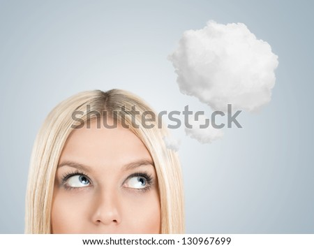 close up of young woman looking away with thought bubble above h stock photo © hasloo