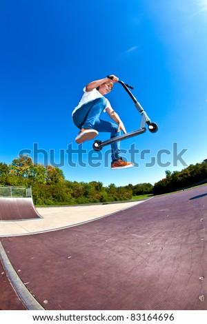 少年 ジャンプ スクーター 子供 道路 スポーツ ストックフォト © meinzahn