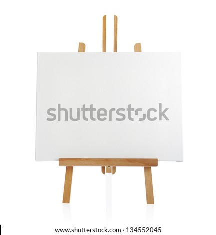 Wooden Easel with Blank Painting Canvas Isolated on White Backgr Stock photo © stevanovicigor