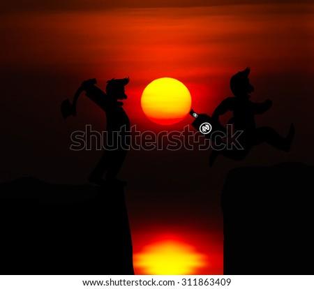 Cartoon Business concept ,Man hold axe and Man jumping over prec Stock photo © stoonn