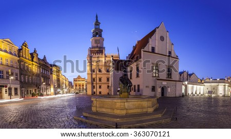 night skyline of poznan old market square in western poland stock photo © 5xinc