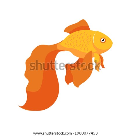 Goldfish in an aquarium vector icon. Yellow fish fulfills desire Stock photo © popaukropa