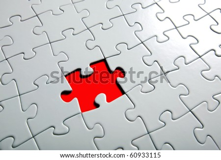 missing puzzle piece focus around the empty space stock photo © mikdam