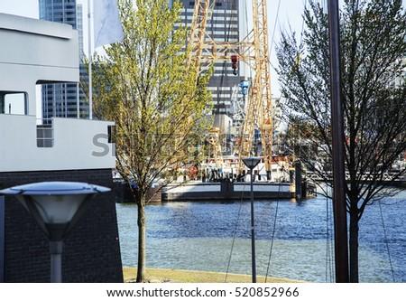 view to background of rotterdam city harbour future architecture concept skyscraper lifestyle coce stock photo © iordani