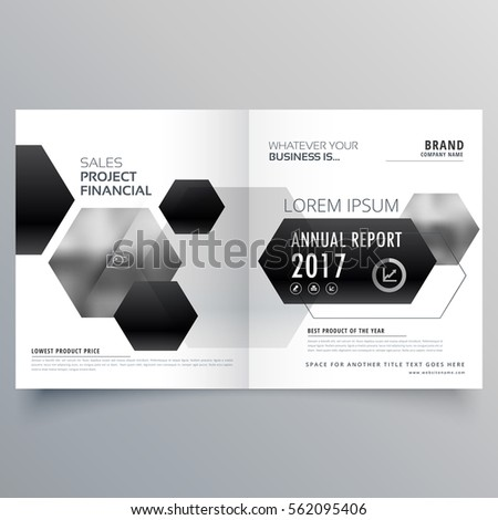 abstract bifold magazine page design with black hexagonal shapes Stock photo © SArts