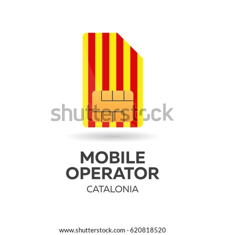 Catalonia mobile operator. SIM card with flag. Vector illustration. Stock photo © Leo_Edition
