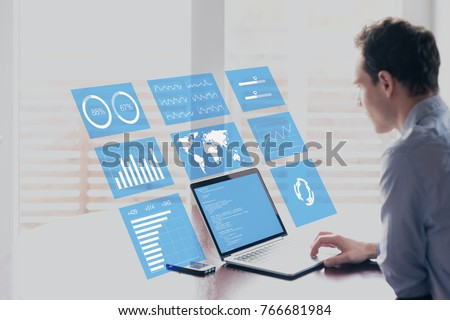 Laptop Screen with Business Intelligence Concept. 3D Illustration. Stock photo © tashatuvango