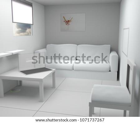Küçük beyaz modern oda şeffaflık bilgisayar ekranı Stok fotoğraf © Wetzkaz