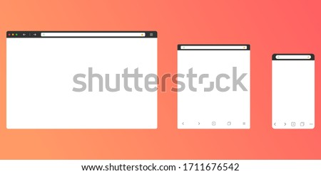 Simple browser window on modern background. . Flat vector illustration. Stock photo © kyryloff