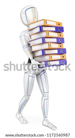 3D humanoid robot veel ring werk Stockfoto © texelart