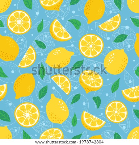 Exotic citrus fruits with green leaves on a blue paper backgroun Stock photo © artjazz