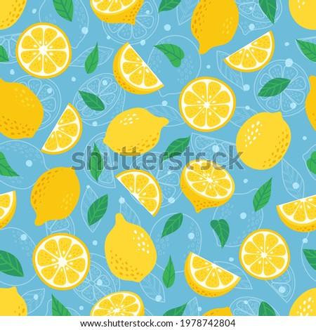 Exótico cítrico frutas folhas verdes azul papel Foto stock © artjazz