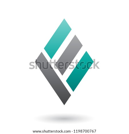 Persian Green and Black Diamond Shaped Letter E Vector Illustrat Stock photo © cidepix
