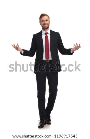 happy businessman steps forward while making a greeting gesture Stock photo © feedough