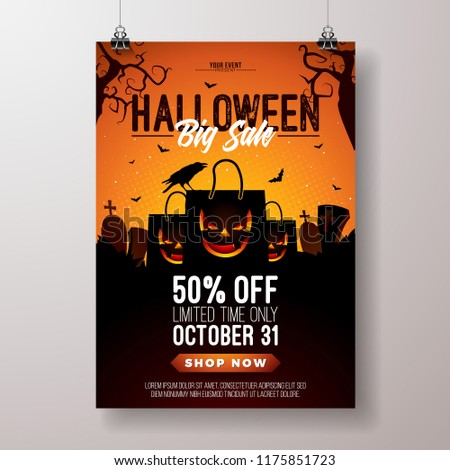 Halloween Sale illustration with scary faced shopping bag, crow, bats and cemetery on orange mysteri Stock photo © articular