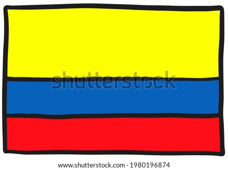 Hand Drawn National Flag Of Colombia Isolated On A White Background. Vector Sketch Style Illustratio Stock photo © garumna