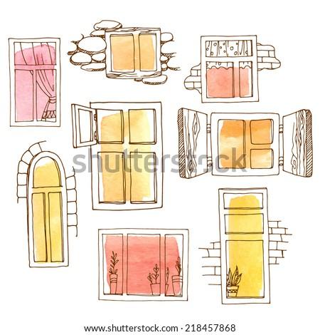 ウィンドウ 描いた ブラウン 色 実例 建物 ストックフォト © colematt