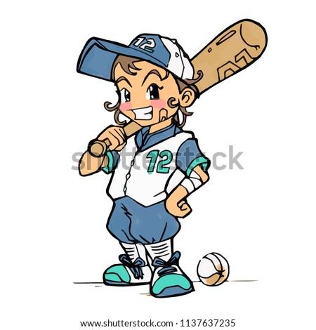 gelukkig · softbal · speler · bat - stockfoto © hittoon