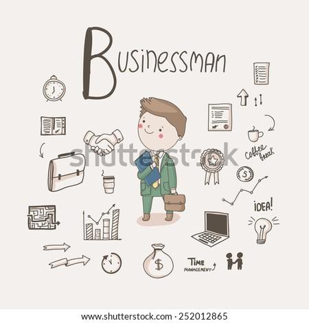 болван бизнесмен характер костюм портфель иллюстрация Сток-фото © colematt