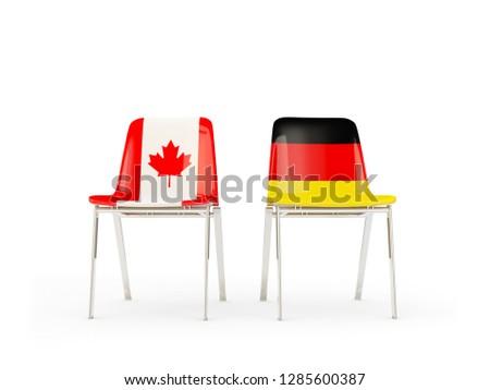 Dos sillas banderas Canadá Alemania aislado Foto stock © MikhailMishchenko
