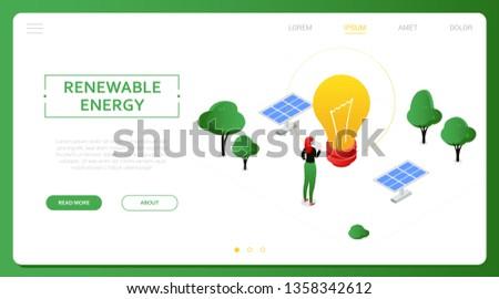 Energii ze źródeł odnawialnych nowoczesne kolorowy izometryczny biały mężczyzna Zdjęcia stock © Decorwithme