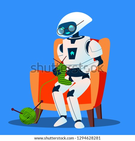 old robot with glasses knitting a sock vector isolated illustration stock photo © pikepicture