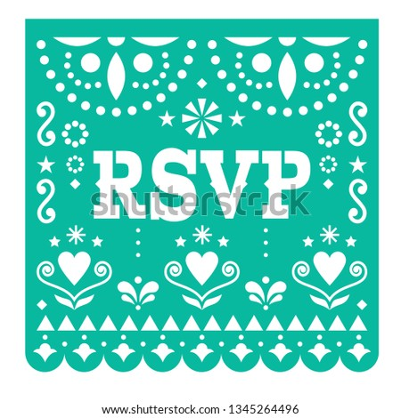 RSVP, respond please Papel Picado vector card, Mexican paper cutout style design with flowers and ab Stock photo © RedKoala