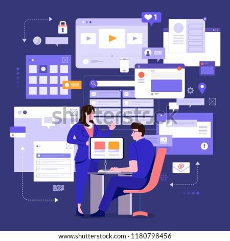 Vector digital comercialización experto seo Foto stock © TarikVision