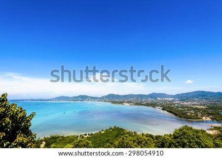 high angle view beautiful landscape of ao chalong bay and city sea side in phuket province thailand stock photo © galitskaya