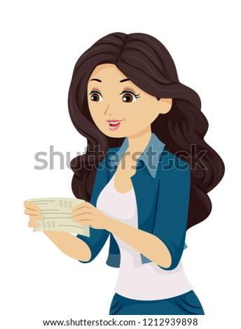 Teen Girl Paycheck Happy Illustration Stock photo © lenm
