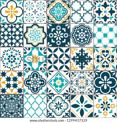 Portuguese or Spanish retro tile Azulejos vector seamless pattern, geometric repetitve design - text Stock photo © RedKoala