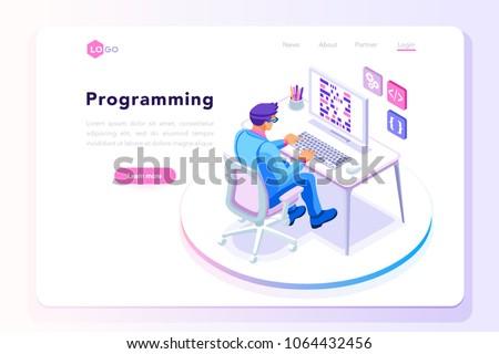 isometrische · vector · landing · pagina · sjabloon · werknemer - stockfoto © tarikvision