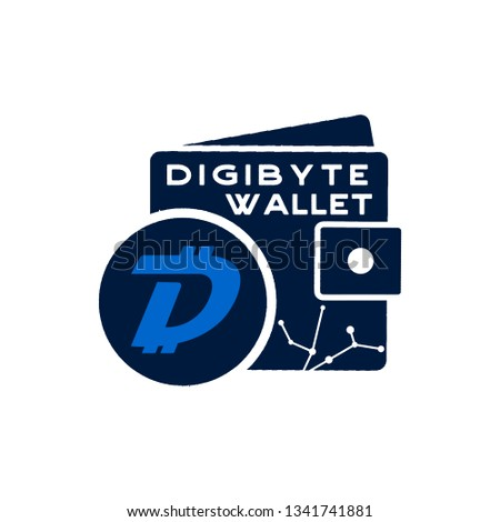 Digibyte wallet logo graphic. Digital asset concept. Crypto DGB emblem. Blockchain technology sticke Stock photo © JeksonGraphics