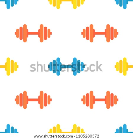 Dumbbell Seamless Pattern Vector. Sport Gym Symbol. Muscle Element. Cute Graphic Texture. Textile Ba Foto stock © pikepicture