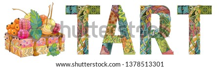 Word TART with piece of cake. Vector decorative zentangle object Stock photo © Natalia_1947