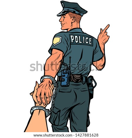 follow me police officer arrested woman. isolate on white background Stock photo © studiostoks