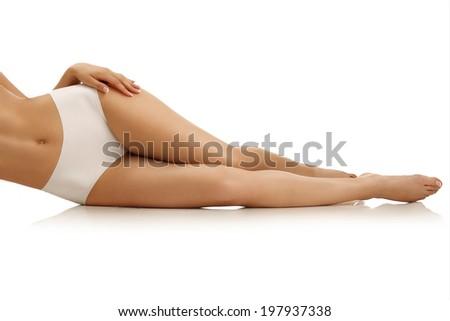 Beautiful slim female body. Voluptuous woman's shape with clean  Stock photo © serdechny
