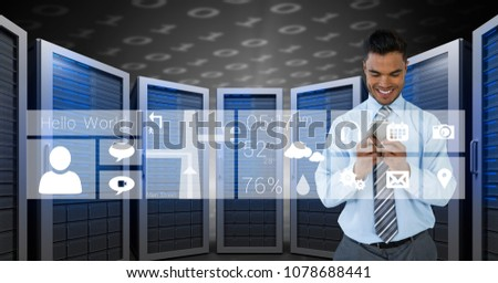 Happy business man holding a phone and graphics in server room Stock photo © wavebreak_media