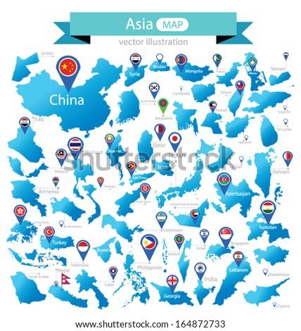 Singapore, Malaysia, Taiwan, China, India and Sri Lanka Vector Maps Stock photo © ConceptCafe