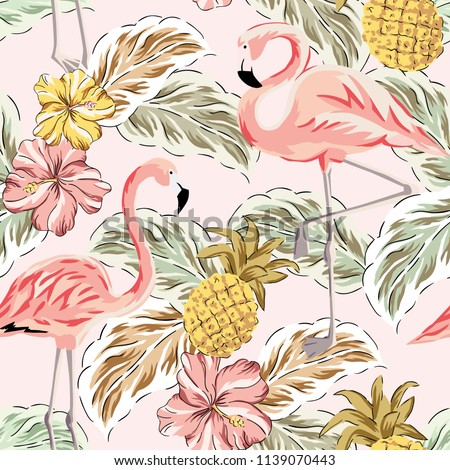 Tropic vintage pattern with flamingo and pineapple Vector. Retro extotic paradise shiny design textu Stock photo © frimufilms