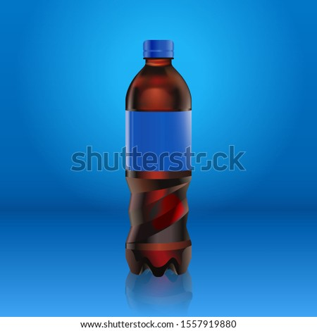 Realistic pepsi cola bottle mock up with blue label with logo isolated on blue background reflected  Stock photo © MarySan