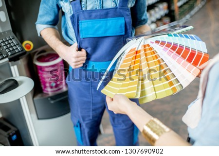 Customer Views Paint Swatches In Paint Store at Colourful Sample Stock photo © feverpitch