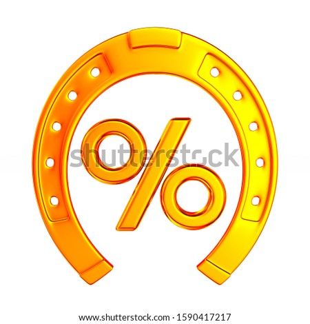 horseshoe and percent on white background. Isolated 3D illustrat Stock photo © ISerg