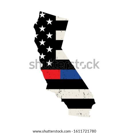 California policji strażak wsparcia banderą amerykańską flagę Zdjęcia stock © enterlinedesign
