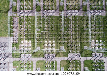 Aerial View of Power Station in Italy. Factory in Industry Zone. Stock photo © ShustrikS