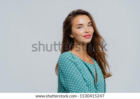 Profilo shot bella soddisfatto donna trucco Foto d'archivio © vkstudio