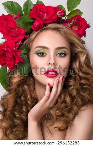 красивой портрет девушки венок голову Сток-фото © ElenaBatkova