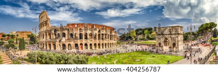 Arch of Constantine and Colosseum in Rome, Italy. Triumphal arch Stock photo © Zhukow