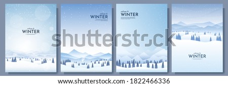Snowy Fir-tree and Mountain, Winter View Vector Stock photo © robuart